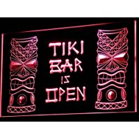 Insegna al neon i573-r Tiki Bar is OPEN Mask Display NR Neon Light Sign - Neon Open Bar
