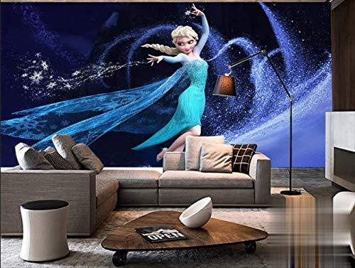 Kinder Mädchen Cartoon Tapete Wandtafel Tanzen Elsa Magische Schnee-königin Tv Sofa Kinder Schlafzimmer Wohnzimmer Frozen Hintergrund Tapete (H)300*(W)210cm pro