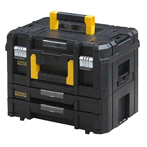 Schubladen Werkzeugkiste Mit (Stanley FatMax Werkzeugkoffer / Werkzeugkasten-Combo TSTAK (21.5L Fassungsvermögen, mit 2 Schubladen und Organizern für Kleinteile, mit Metallschließen, mit herausnehmbaren Innenteilern) FMST1-71981)