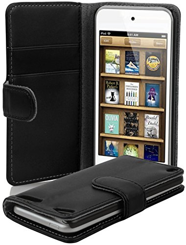 Cadorabo - Etui Housse pour Apple iPod TOUCH 5 - Coque Case Cover Bumper Portefeuille (avec fentes pour cartes) en NOIR DE JAIS