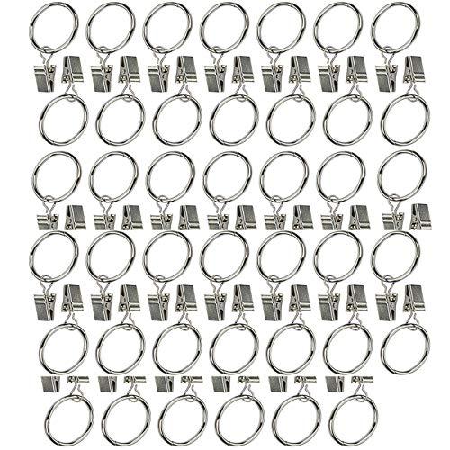 Crivers Praktische Metall-Vorhangringe mit Clips, Vorhangclips, 40pc
