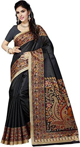 Indianstore24 Indische Wedding Collection of Printed Bhagalpuri Art Silk Saree,Sari,Birthday Dress, Geburtstag, Indische Kleid,Hippie Kleid,Indian Saree,Traditional,Causal (Black)