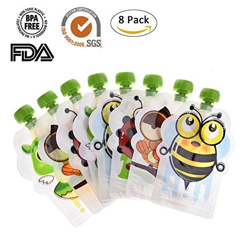 Pueri 8pcs Bolsas de Comidas Reutilizables para Bebés Recipiente de Alimentación para Bebé Bolsa de Almacenaje Cereales y Pasta de Fruta