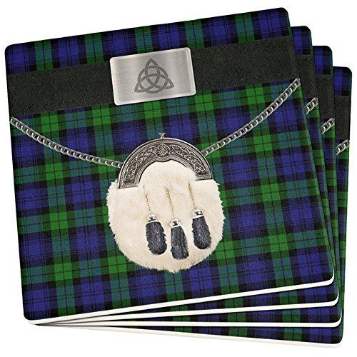 St. Patricks Tag Kilt Black Watch Scottish Kostüm Set von 4 Achterbahnen Multi Standard One Größe