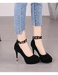 Feder High Heels fein mit Frauen Schuhe flache Mund runden Kopf süße einfach und Veranstaltungsräume Schuhe, weiße 34