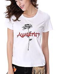 Keno camiseta mujer de verano - 95% algodón - con bordado - T shirt - M