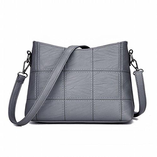 Mode-Hand Quadrat Nähen Schulter Messenger Bag Handtasche Licht Grau