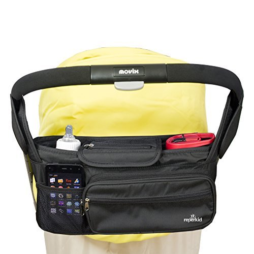 Reperkid Stroller Organizer Bag And Organizer - Large Capacity - Premium Baby Stroller Bags Fits All Types of Strollers - Comes w/ Smartphone &Dual Bottle Holder - Great Durability &Design