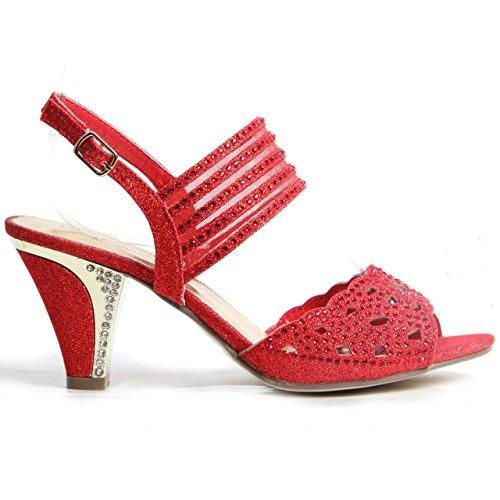 Femmes Cintillant Diamant Bloque Chaussures Talon Soirée Boucle Up Sandales Rouge