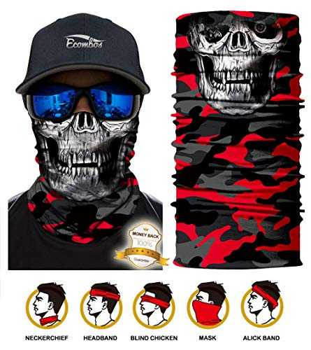 ECOMBOS Multifunktionstuch - Bedrucktes Schlauchtuch Bandana Face Shield Gesichtsmaske Halstuch Qualitäts Bandana, Ski Motorrad Paintball Maske (Totenkopf 1)