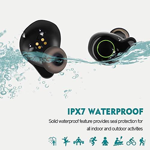 Moosen Auriculares Bluetooth 5.0,  Auriculares Inalámbricos 156H Tiempo de Juego Bajo Profundo Hi- Fi Sonido Estéreo In- Ear Sport Auricular con Mic,  IPX7 Impermeable,  Digital Display Estuche de Carga