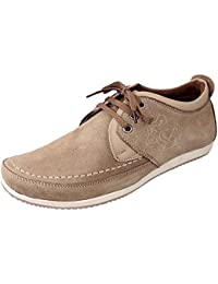 Marshal Men's Tan Chikoo Genuine Leather Big Size Casual Shoes