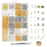 Earring Making Supplies,ZoomSky 2416pcs Jewelry Making Kits in Earring Backs Earring Hooks Earring Posts for DIY Beginners Adults Crafters (Earring)