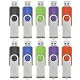 ARETOP Lot de 10 Clé USB 2.0 8 Go pour PC Couleur Mixte(Vert/Rouge/Noir/Bleu/Violet) 54 * 16 * 10mm
