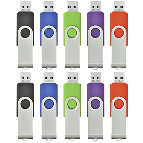 ARETOP® Lot de 10 Clé USB 2.0 2 Go pour PC Couleur Mixte(Vert/Rouge/Noir/Bleu/Violet) 54 * 16 * 10mm