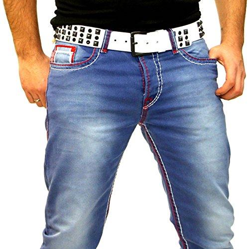 BAXBOY Straight Cut Rot Dicke Naht Jeans Hose stone-washed Blue Denim BB116-1 Blau