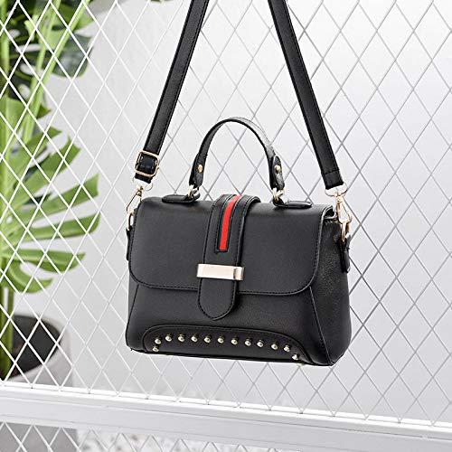 Schwarz-schulter-handtaschen (YZJLQML Lady bagsFashion Messenger Bag Plüsch einfache vielseitige PU-Leder kleine quadratische Tasche Schulter tragbare Handtasche, schwarz)