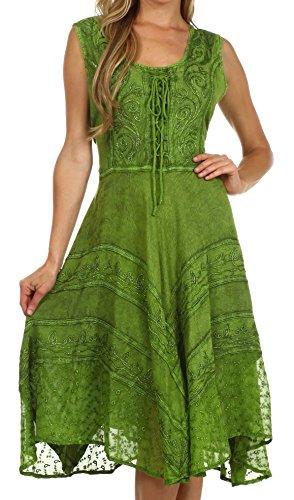 tonewashed Rayon Mid Length Kleid - Grün - L / XL (Grün Mittelalterliches Kleid)
