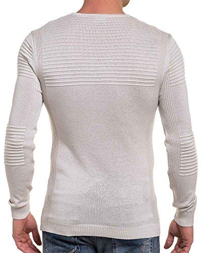BLZ jeans - Pull nervuré beige fine maille pour homme Beige
