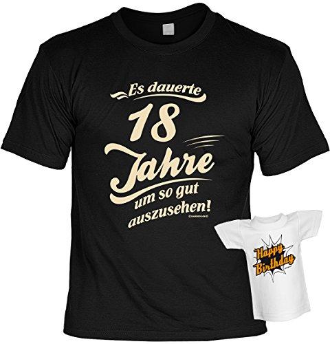 Cooles Geburtstagsgeschenk Leiberl für Männer T-Shirt Set mit Mini T-Shirt Es dauerte 18 Jahre um so gut auszusehen! Leibal zum Geburtstag Schwarz