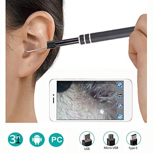 JM-D Ohr Endoskop Kamera 3 in 1 USB Otoskop Visuelle Earpick Reinigung Werkzeug mit 6 Einstellbare LED-Leuchten für Windows PC Android Telefon Typ C USB PC