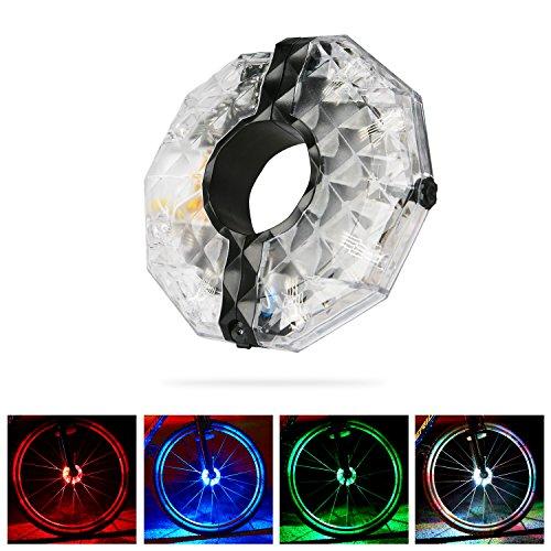 USB Wiederaufladbare Buntes Fahrrad Rad Licht ,BizoeRade Wasserdichte LED Bike Wheel Lights, 4 farbe 3 Modi Radfahren Licht,Fahrrad Zubehör Beleuchtung (Bunte Fahrrad-lichter)