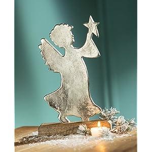 Gilde Alu Engel auf Holzbase silber, Mangoholz, Stern in der Hand 29 cm 21636