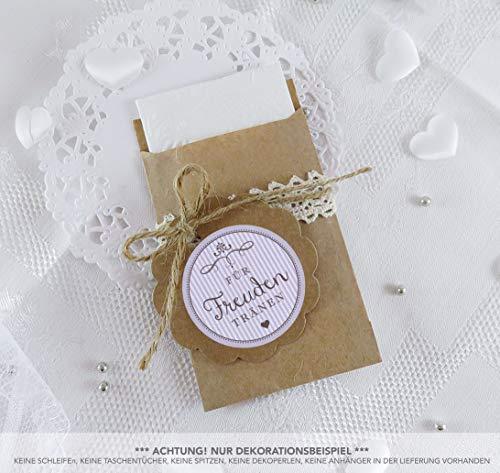 SET GROß: 48 Freudentränen Sticker + 48 braune Flachbeutel - Kraftpapier - 63 x 93 mm • Hochzeit Wedding Freudentränen Taschentuch Verpackungen • Aufkleber LILA RETRO VINTAGE STYLE 4cm rund matt