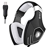 SADES A60/OMG Computer USB Gaming Headset Over Ear Stereo Gaming Heaphones With Microphone Noise Isolating Volume Control LED Light For PC & MAC(Black+White)