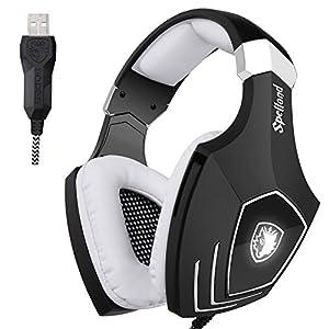 SADES A60 / OMG Computer USB Gaming Headset über Ohr Stereo Kopfhörer Gaming mit Mikrofon Noise Isolating Lautstärkeregler LED Licht für PC & MAC (Schwarz + Weiß)