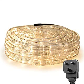 LE 10m 240 LED Rope Lights, 24V Connectable Warm White String Lights, Plug in IP65 Water Resistant Decorative Lights for Outdoor, Garden, Fence, Patio and More