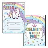 Made by Nami 12er Set Einhorn Einladungskarten Kindergeburtstag - Einladungen für Geburtstag, Kinder Mädchen (Ohne Umschläge)