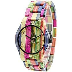 Reloj de madera de bambú de los hombres de BEWELL W105DG reloj análogo del movimiento de cuarzo japonés con la correa ajustable del reloj para los hombres