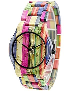 Bewell Mode Colored Bamboo Hölzerne Uhren Geschenke für Liebhaber Quartz Armbanduhr (Gemischte 1)