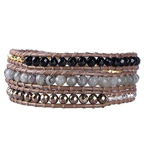 KELITCH Noir Onyx, Labradorite Pierre, Foncé-or Pyrite et Métal Pépite Perles Cuir Bracelet