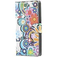 LG Magna Carcasa,Cubierta de Cuero Cartera Piel Caso Carcasa para LG G4C/LG Magna(5 pulgadas) Funda Cubrir Protección Flip Cover Case con Cierre Magnético y Función de Soporte(Flores de colores)