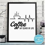 COFFEE - ELIXIER OF LIFE - Kunstdruck mit Kaffee-Spruch - Rahmen optional - Kaffeebild für alle Kaffee-Liebhaber - Wandbild Küche - originelles Geschenk Geburtstag Jahrestag Hochzeitstag Weihnachten