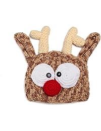 Gorro hecho a mano de punto para bebé, con diseño de cabeza de reno, de Pixnor