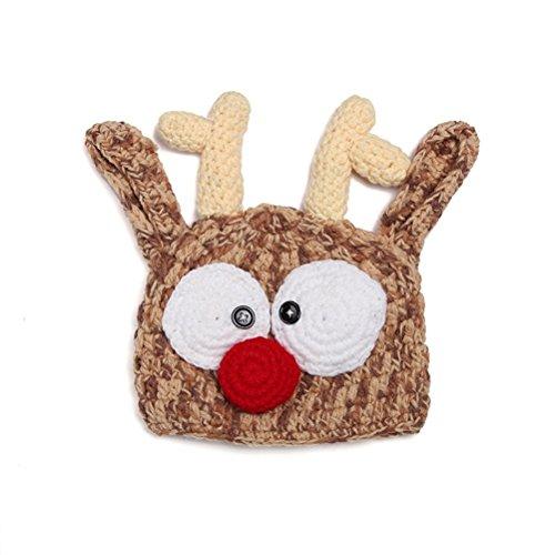 PIXNOR bebé niños niñas hecho a mano Crochet punto reno Antler sombrero fotografía Prop Navidad