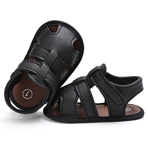 Topgrowth Bambini Bambino Bambini Carino Presepe Scarpe t-Legato Morbido Precamminatore Soft Suola Anti-Slip Newbornshoes Sandali Nero