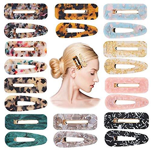 BEYUMI 20 Stücke Acryl Harz Haarspangen Set Mode Geometrische Alligator Haarspangen Leopard Muster Vintage Haarschmuck Haarnadeln für Frauen - Leopard Womens Hat
