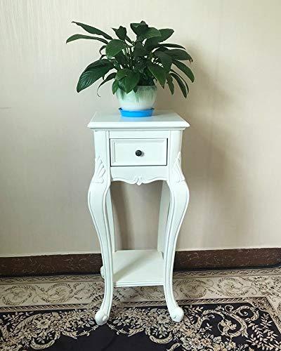 TAO Amerikanischen Becken Regal Indoor Multifunktions Lagerung Blume Wohnzimmer Home Blume Tisch Doppelschicht Pflanzenrahmen Holz Blume Ständer (Farbe : Weiß) - Poliert Eisen Kamin