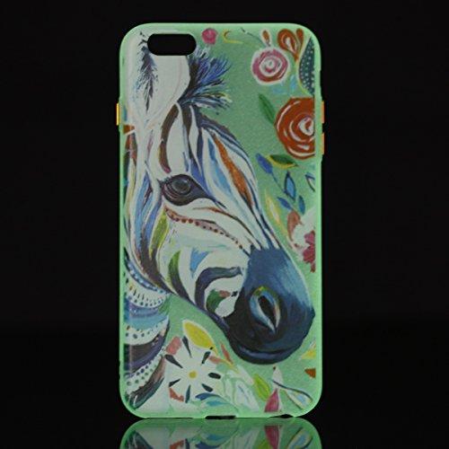 Felfy Silikon Case für iPhone 6 Plus Hülle,iPhone 6S Plus Luminous Cover Ultra Dünne Slim Silikon Etui Handy Hülle Weiche Transparente Luminous Gel TPU Back Case Leuchten In Der Nacht - Felfy Farbe Mu Verdicken Zebra