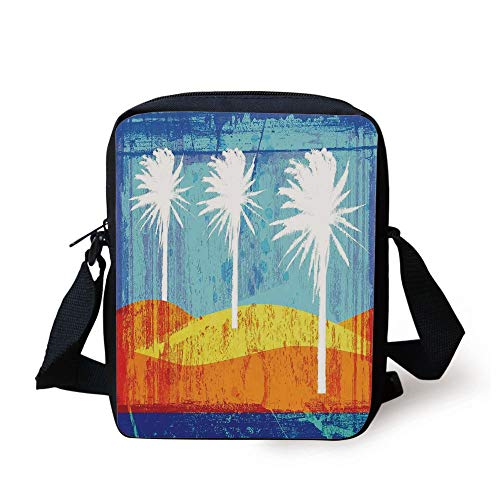 LULABE Burnt Orange,Contemporary Motley Stained Distressed Tropic Beach with Palms Graphic,Orange Blue White Print Kids Crossbody Messenger Bag Purse - Distressed Hobo