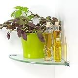 DOLLE Eckregal, Glasregal, Glasboden, Regal Glas, Viertelbogen   klar   25 x 25 cm x 8 mm