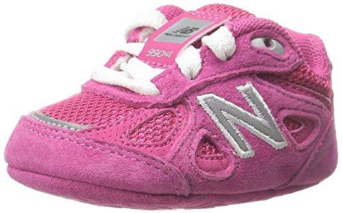 NEW BALANCE - Fuchsia Schuh für die Wiege mit Schnürsenkel, aus Wildleder und Synthetik, seitlich ein weißes Logo und Stoffsohle, Mädchen-16 (Schuhe Kinder Wildleder Fuchsia)