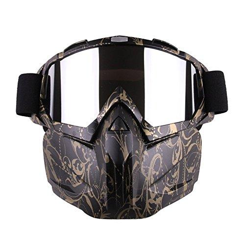 GZQ Motorrad Goggles mit abnehmbarer Maske Sicherheit Helm Brille winddicht Staubdicht Motocross Motorrad Goggle für Schnee Skifahren, Radfahren, Klettern, Reiten & Outdoor Sports, A-Black-Gold (Ski-helme Brennen)