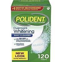 Polident Overnight Whitening Antibacterial limpiador de dentadura, 120 count