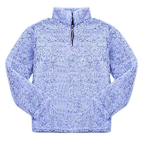 MAYOGO Unisex Flauschig Premium Teddyfell Jacke Hoodie,Teddy Fleece Pullover Sweatshirt mit Halfzip