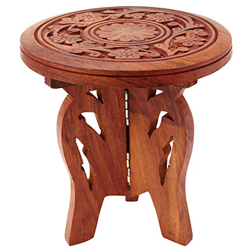ITOS365 Handicrafted Wooden Carving Puja Chauki - Centre Piece for Table -...